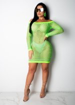 Sexy Mesh Slash Neck Long Sleeve Mini Club Dress CM561