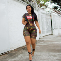 WGW Super Letter Camo Print Short Sleeve Playsuit SH3544