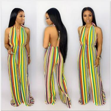 WGW Sexy Striped Halter Deep V Neck Backless Jumpsuits GS1122
