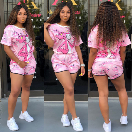 WGW Cartoon Print Short Sleeve Cute Two Piece Shorts Set SH3600