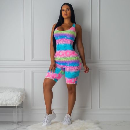 WGW Sexy Tie Dye Print Sleeveless Crisscross Backless Playsuit LP6167