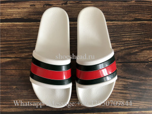 Gucci White Slide Sandals