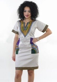 As Show As Show Short Sleeve Cotton Blends Printed African Clothing