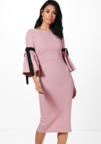 As Show Casual Brief O-Neck Three Quarter 3/4 Sleeve Sheath Mid-Calf Long Sleeve Dresses