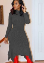 Grey Casual Brief Vintage O-Neck Full Regular Asymmetrical Mid-Calf Long Sleeve Dresses