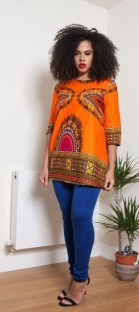 As Show Half Sleeve round neck Polyester Printed Halter African Clothing
