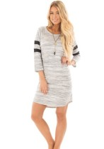As Show Casual Active Brief O-Neck Three Quarter 3/4 Sleeve Straight Knee-Length Long Sleeve Dresses