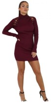 REDWINE Casual O-Neck Full Regular A-Line short skirts Long Sleeve Dresses