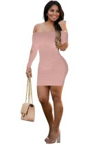 Khaki Brief Cute Slash neck Full Off the Shoulder Step skirt short skirts Club Dresses