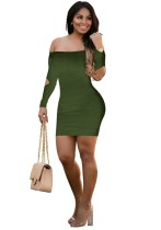 ARMYGREEN Brief Cute Slash neck Full Off the Shoulder Step skirt short skirts Club Dresses