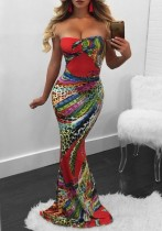 As Show Brief Cute Sexy & Club Strapless Sleeveless Off the Shoulder Trumpet / Mermaid Floor-Length Print Dresses