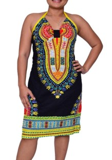 Sleeveless V Neck Polyester Printed African Clothing