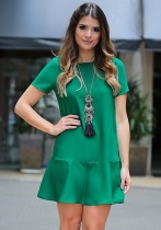 Green Brief Cute Novelty O-Neck Short Regular Loose short skirts Casual Dresses