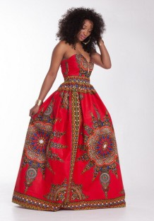 Red Sleeveless Strapless Polyester milk silk Printed African Clothing