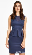 Blue Work O-Neck Sleeveless A-Line short skirts Casual Dresses
