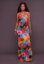 Yellow Brief Cute Sexy & Club Strapless Sleeveless Off the Shoulder Floor-Length Print Dresses