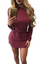 O-Neck Full short skirts Casual Dresses