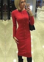 Red Casual O-Neck Long Sleeve Long Sleeve Step skirt Midi Long Sleeve Dresses