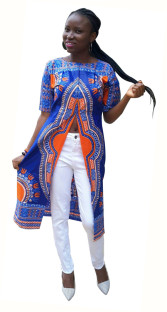 As Show Half Sleeve round neck Printed Split Front African Clothing
