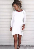 White Brief Cute O-Neck Full Regular Loose short skirts Casual Dresses