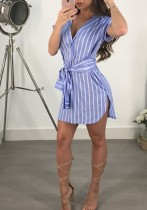 Light Blue Casual Sexy & Club Turn-down Collar Short Sleeve Loose skirt Club Dresses