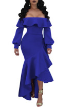 Blue Fashion Off The Shoulder Long Sleeves One word collar Asymmetrical Ankle-Length ruffle Solid  LO441167
