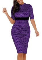 Purple Sexy & Club O-Neck Half Sleeve Rhitheron drafts.ithers. Knee Length Club Dresses