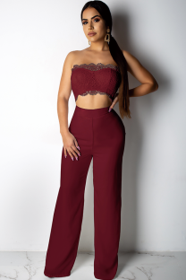 Maroon Polyester Fashion Sexy Patchwork Solid Lace Trim Casual  Two-piece Pants Set DZ1167