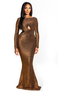 Brown Fashion Long Sleeves O neck Mermaid Floor-Length  Vintage Dresses LL54232