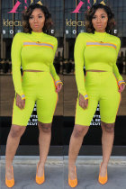 Yellow Fashion Active Cap Sleeve Long Sleeves O neck Pencil Dress Knee-Length Print Patchwork  Two-Piece Short Set CM401159