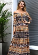 Yellow Casual Bohemian Sexy & Club Slash neck 3/4 Sleeve Loose Long Bohemian Dresses