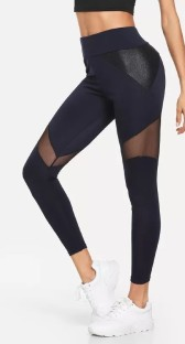Black Spandex polyester Solid Ankle-Length Leggings