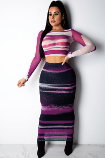 purple Polyester Sexy Fashion Mesh Print perspective Patchwork  Two-Piece Dress SY321172