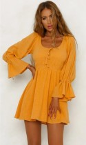 Yellow O-Neck A-Line skirt Long Sleeve Dresses