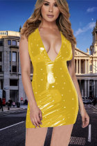 Yellow Sexy Fashion Tank Sleeveless V Neck Step Skirt Mini Pearl Solid PU Patchwork  Club Dresses NE851166