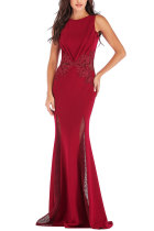 Red Sexy Sleeveless O neck Mermaid Floor-Length Patchwork  Party and Cocktail Dresses LR17848