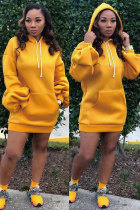 Yellow Fashion Sexy lantern sleeve Long Sleeves Hooded Step Skirt Mini Solid asymmetrical  RM881158
