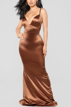Brown Sexy Spaghetti Strap Sleeveless V Neck Slim Dress Floor-Length  LR17858