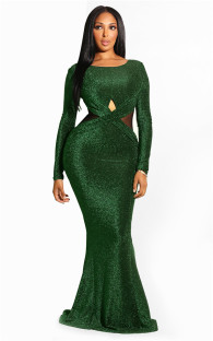 Green Fashion Long Sleeves O neck Mermaid Floor-Length  Vintage Dresses LL54232