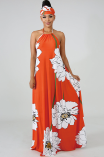 Orange Fashion Sexy Spaghetti Strap Sleeveless O neck A-Line Ankle-Length Print backless Patchwork  Club Dresses SY321171
