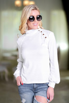 White Turtleneck Long Sleeve Solid  Long Sleeve Tops SJ38994