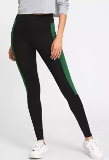 Black Cotton Spandex polyester Active Solid Patchwork Ankle-Length Leggings