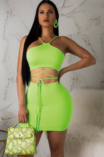 Green Polyester Fashion Vintage Bandage Patchwork Solid Hip skirt  Two-Piece Dress MT741185