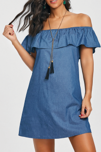 Blue Fashion Sexy Off The Shoulder Short Sleeves One word collar A-Line Mini Solid Patchwork ruffle  Club Dresses SJ381185