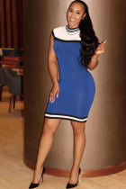 Blue Fashion Sexy Tank Sleeveless O neck Step Skirt skirt Patchwork Solid  Club Dresses MM92132