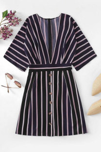 Blue Sexy Fashion Cap Sleeve Half Sleeves V Neck A-Line Mini Print Striped Patchwork  Print Dresses LM271450