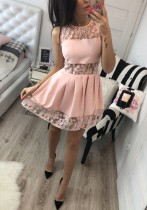 Pink Casual Sexy & Club O-Neck Sleeveless A-Line skirt Club Dresses