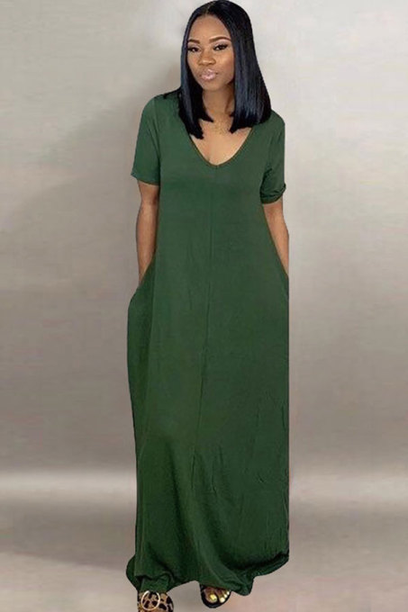 Dark  green Sexy Fashion Cap Sleeve Short Sleeves O neck A-Line Ankle-Length Patchwork Solid  Casual Dresses TR671163