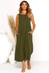 Army Green Polyester Sleeveless Solid backless Loose Capris  Jumpsuits & Rompers ON581202