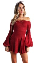 Red Cute O-Neck Long Sleeve A-Line skirt Long Sleeve Dresses